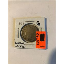 """Early RARE Key Date 1897 P Liberty """"V"""" Nickel in Good Grade Some Nice US Coin"""