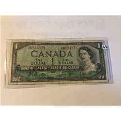 1954 Canadian OTTAWA 1 Dollar Currency Bill in Very Fine Condition Serial # 3705367