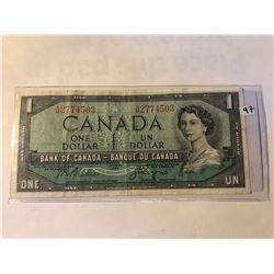 1954 Canadian OTTAWA 1 Dollar Currency Bill in Very Fine Condition Serial # 2774508