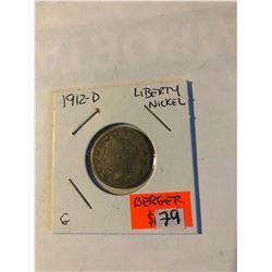 Rare Key Date 1912 D Liberty Head V Nickel Good Grade