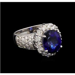 14KT White Gold 4.79 ctw Sapphire and Diamond Ring