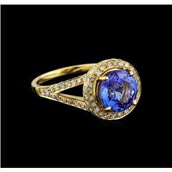 14KT Yellow Gold 2.96 ctw Tanzanite and Diamond Ring