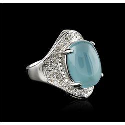 14KT White Gold 9.31 ctw Aquamarine and Diamond Ring