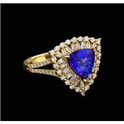 14KT Yellow Gold 2.86 ctw Tanzanite and Diamond Ring