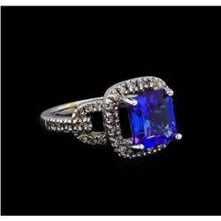 14KT White Gold 3.91 ctw Tanzanite and Diamond Ring