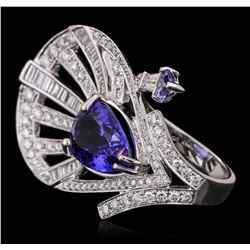 18KT White Gold 6.20 ctw Tanzanite and Diamond Ring