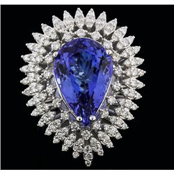 14KT White Gold 11.43 ctw Tanzanite and Diamond Ring