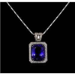 18KT White Gold GIA Certified 16.95 ctw Tanzanite and Diamond Pendant With Chain