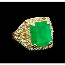 14KT Yellow Gold 9.19 ctw Emerald and Diamond Ring