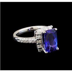 14KT White Gold 3.17 ctw Tanzanite and Diamond Ring