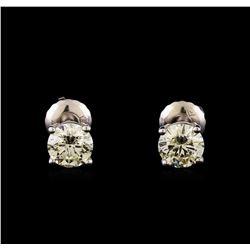14KT White Gold 1.28 ctw Diamond Solitaire Earrings