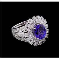 14KT White Gold 2.71 ctw Tanzanite and Diamond Ring