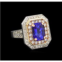14KT Rose and White Gold 4.29 ctw Tanzanite and Diamond Ring