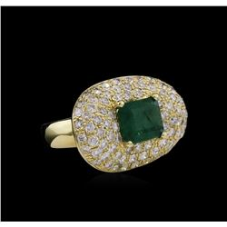 14KT Yellow Gold 3.08 ctw Emerald and Diamond Ring