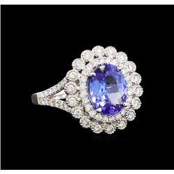 14KT White Gold 2.18 ctw Tanzanite and Diamond Ring