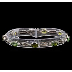 14KT White Gold 7.68 ctw Multicolor Sapphire and Diamond Bracelet