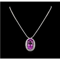 14KT White Gold 71.43 ctw Kunzite and Diamond Necklace