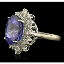 14KT White Gold 11.08 ctw GIA Certified Tanzanite and Diamond Ring