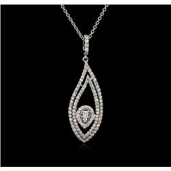 1.33 ctw Diamond Pendant With Chain - 14KT White Gold