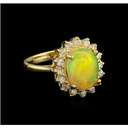 2.25 ctw Opal and Diamond Ring - 14KT Yellow Gold