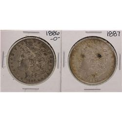 Lot of 1886-O & 1887 $1 Morgan Silver Dollar Coins