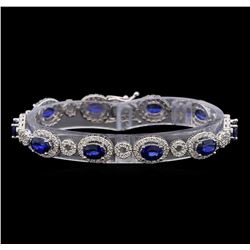 14KT White Gold 8.85 ctw Sapphire and Diamond Bracelet
