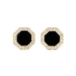 0.50 ctw Diamond and Onyx Tuxedo Studs - 14KT Yellow Gold