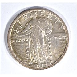 1917-S T-2 STANDING LIBERTY QUARTER, AU SCARCE