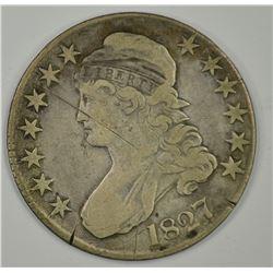 1827 BUST HALF DOLLAR, VF SCRATCHED