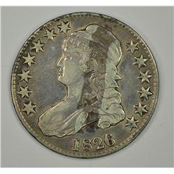 1826 BUST HALF DOLLAR, XF has stain