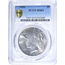 1926 PEACE DOLLAR, PCGS MS-63
