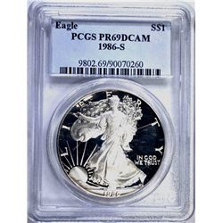 1986-S PROOF SILVER EAGLE PCGS PR-69 DCAM