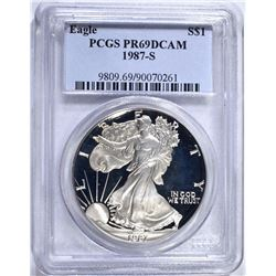 1987-S PROOF SILVER EAGLE PCGS PR-69 DCAM