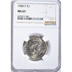 1980-P SUSAN B. ANTHONY DOLLAR, NGC MS-67