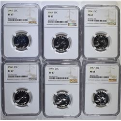 6-NGC GRADED PF-67 WASHINGTON QUARTERS
