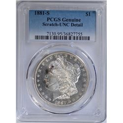 1881-S MORGAN DOLLAR PCGS GENUINE