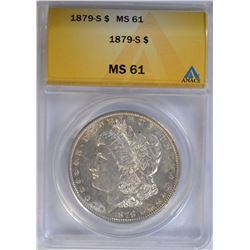 1879-S MORGAN DOLLAR ANACS MS61