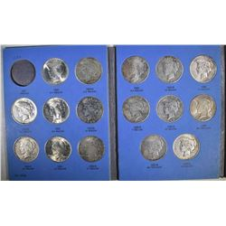PARTIAL PEACE DOLLAR SET: 21 DIFFERENT