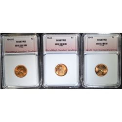 1944, 1945, 1945-D LINCOLN CENTS