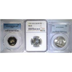 3 COIN LOT: 1952 FRANKLIN HALF DOLLAR PCGS MS64,
