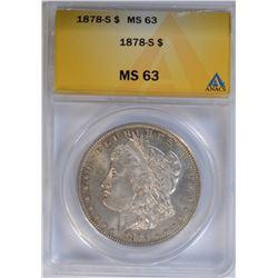 1878-S MORGAN DOLLAR ANACS MS 63