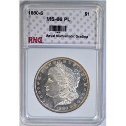 1880-S MORGAN DOLLAR RNG SUPERB GEM PL