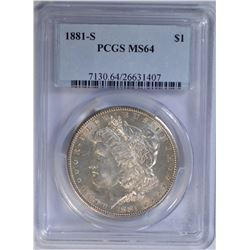 1881-S MORGAN DOLLAR PCGS MS64