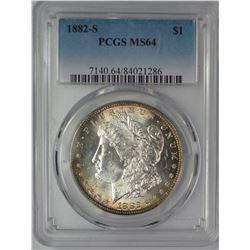 1882-S MORGAN DOLLAR PCGS MS64