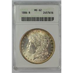 1886 MORGAN DOLLAR ANACS MS 62