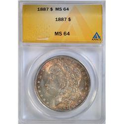 1887 MORGAN DOLLAR ANACS MS 64