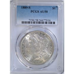 1889-S MORGAN DOLLAR PCGS AU58