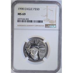 1998 EAGLE $50 1/2 OZ .9995 PLATINUM NGC MS 69
