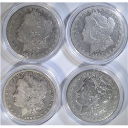 4 - MORGAN DOLLARS: 1883, 1889-O,