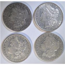 4 - MORGAN DOLLARS:  1880, 1881, 1882 &